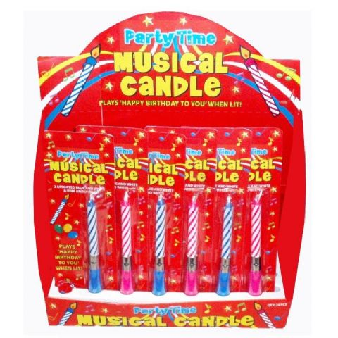 24 x Musical Happy Birthday Cake Candles Blue & Pink - Wholesale Bulk Buy
